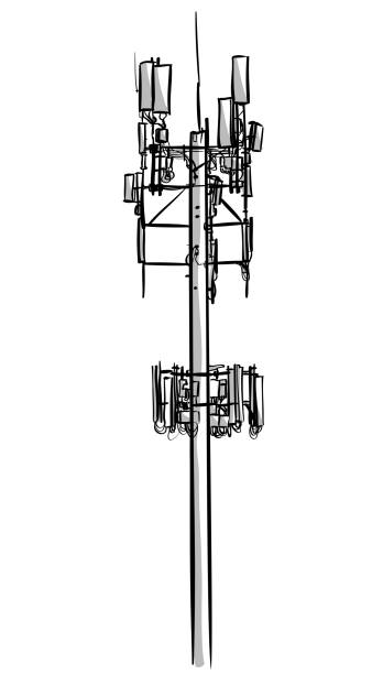 Cellphone Tower Sketch Sketch of a tall cellphone tower repeater tower stock illustrations