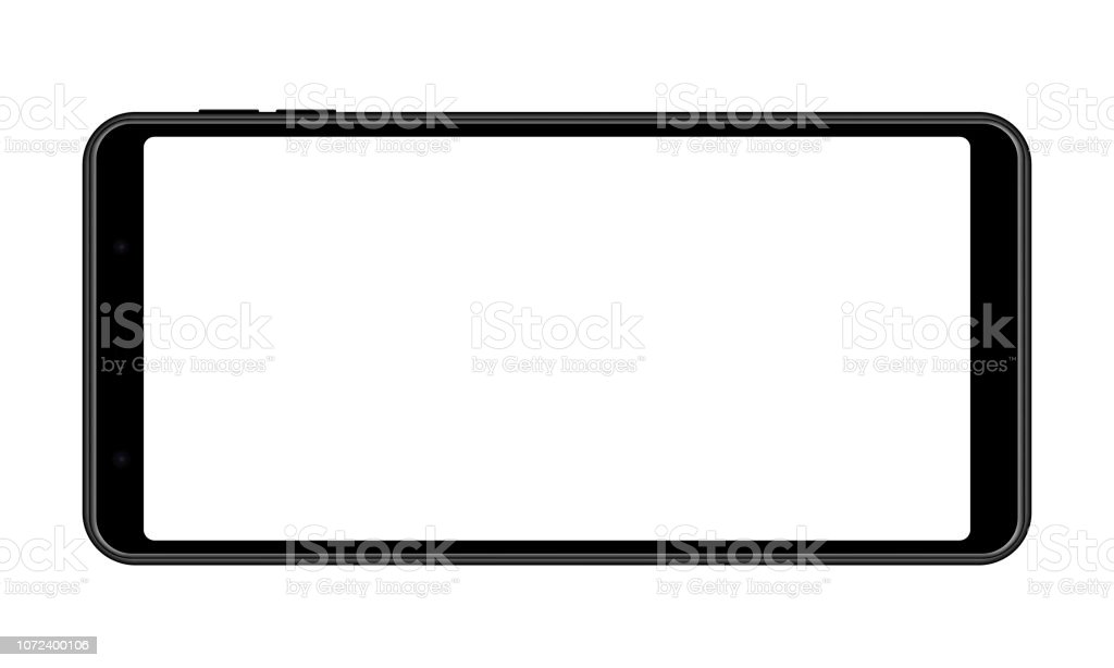 Cellphone with blank screen - horizontal front view vector art illustration
