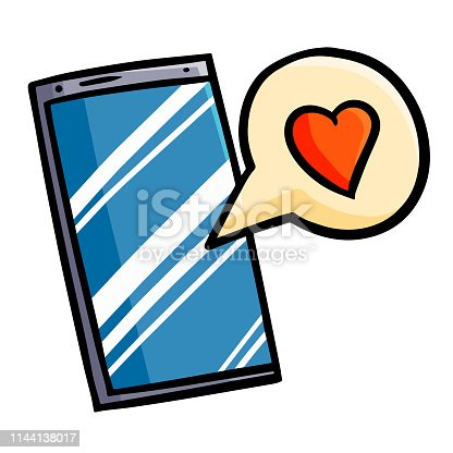 Cute and funny cellphone with love balloon text - vector