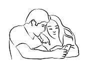 illustration of a couple watching something together on a cellphone