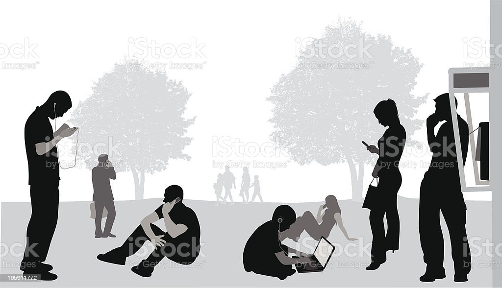 Cellphone'n Laptops Vector Silhouette vector art illustration