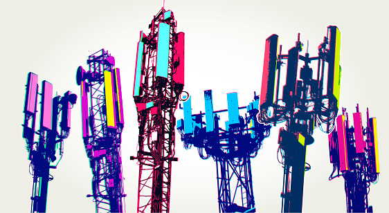 Posterised or Pop Art styled Cellular communications tower for mobile phone and video data transmission, 5G, cellular, telecommunications, phone mast,