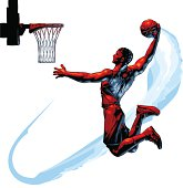 Vector Celshade illustration of basketball player jumping and performing a Slam Dunk, hand drawn with expressive, sketchy lines, etching marks and painterly shapes for added dynamism, using my personal, signature technique and style I call CelScratch, containing NO gradients for maximum compatibility to the software of your choice.