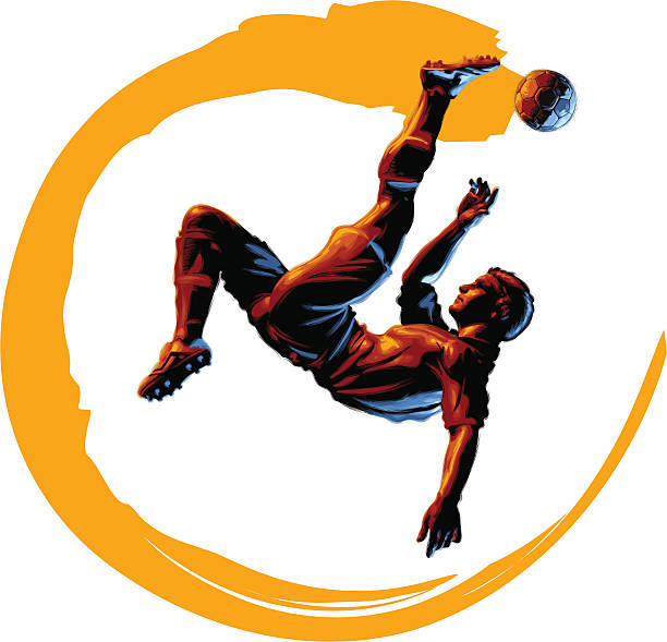 celscratch abbildung: schere kick - fußballkunst stock-grafiken, -clipart, -cartoons und -symbole