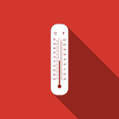 Celsius and fahrenheit meteorology thermometers measuring heat and cold icon isolated with long shadow. Thermometer equipment showing hot or cold weather. Flat design. Vector Illustration