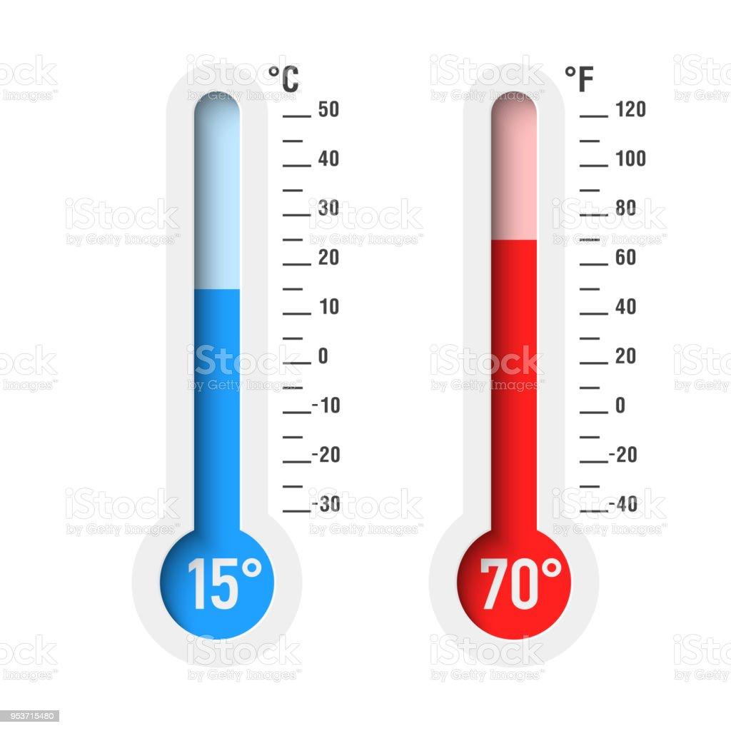 Grad Celsius Und Fahrenheit Thermometer Stock Vektor Art und mehr ...