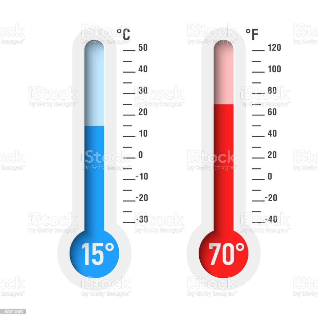 Celsius and Fahrenheit thermometers vector art illustration