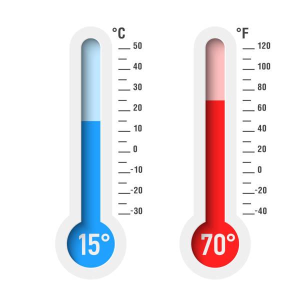 stockillustraties, clipart, cartoons en iconen met celsius en fahrenheit thermometers - thermometer