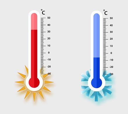 Celsius Mete Oro Logi Termometrar Mäter Värme Och Kyla Vektor Illustration Termometerutrustning Som Visar Varmt Eller Kallt Väder vektorgrafik och