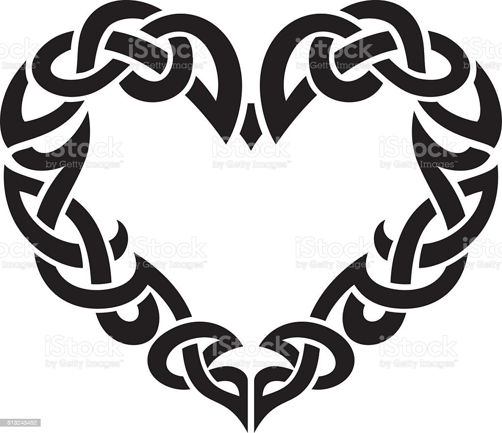 Celtic Abstract Heart Border vector art illustration