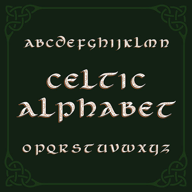 Celtic alphabet font Celtic alphabet font. Distressed letters and knot frame. Vector typography for your design. celtic style stock illustrations