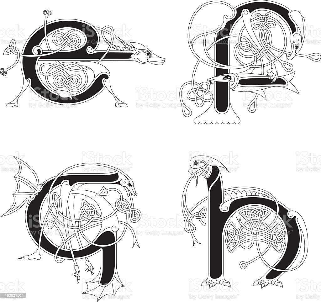 Celtic Animal Initials Letters E F G And H Stock Vector Art More