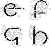 Celtic animal initials: letters E, F, G and H