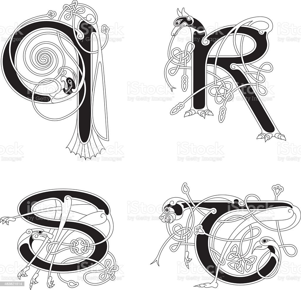 Celtic animal initials: letters Q, R, S and T vector art illustration