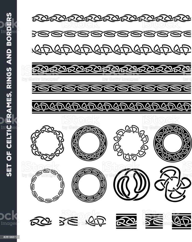 ケルトの罫線、パターン セット リング ベクターアートイラスト