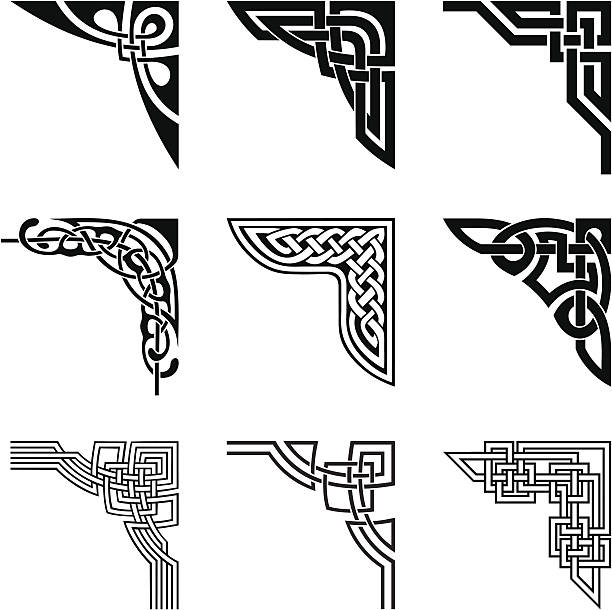 celtic corners set set of ornamental corners in celtic style celtic knot stock illustrations
