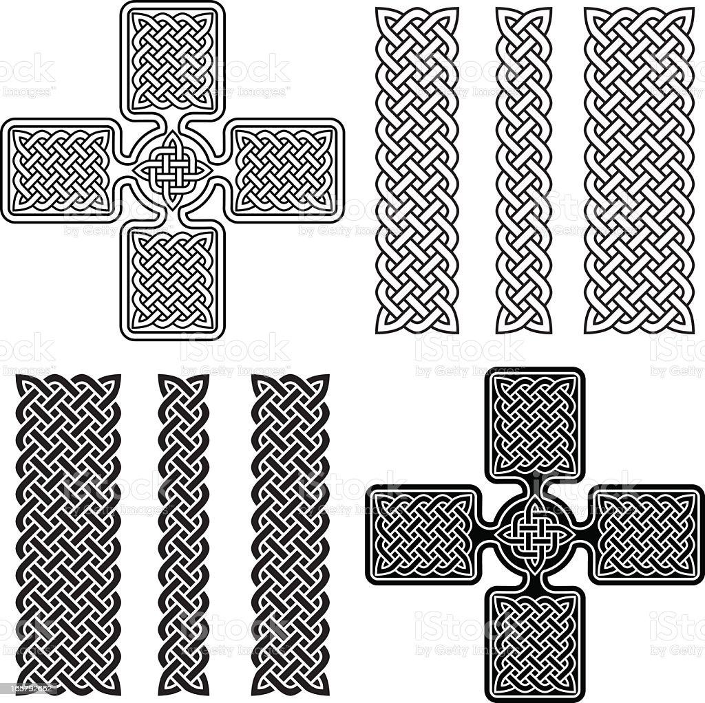 Celtic Cross and Knotwork Ornaments vector art illustration