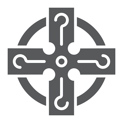 Celtic cross glyph icon, st patrick's day and holiday, celtic ornament sign, vector graphics, a solid pattern on a white background, eps 10.