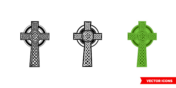 Celtic cross icon of 3 types color, black and white, outline. Isolated vector sign symbol