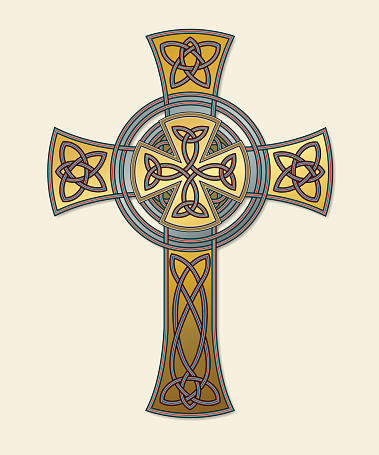 Celtic cross in gold (Knotted cross variation n° 7)