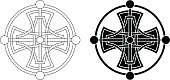 Celtic, circular cross medallion in black on white background. The design is illustrated as line work and as a black and white tattoo.