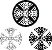 Celtic cross ornament in black on white background. The shape is based on a cross in a circle and filled with an organic, endless knot. The design is illustrated as line work, as a black and white tattoo and in a circular mandala version.