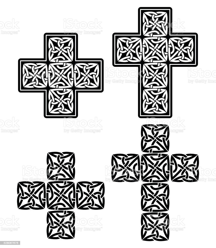Celtic cross - set of traditional designs in black vector art illustration