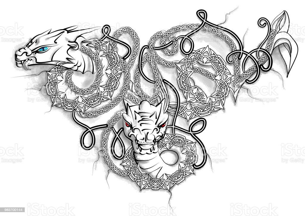 Celtic Double Dragon vector art illustration