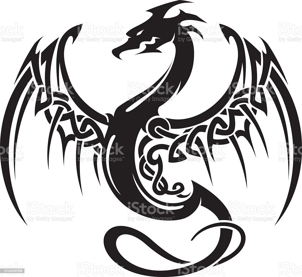 Celtic Dragon Insignia vector art illustration