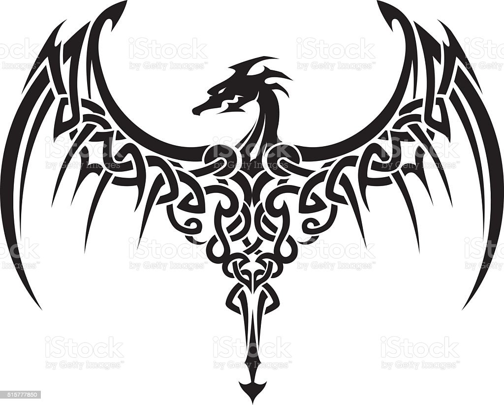 Celtic Dragon Wings Tattoo vector art illustration