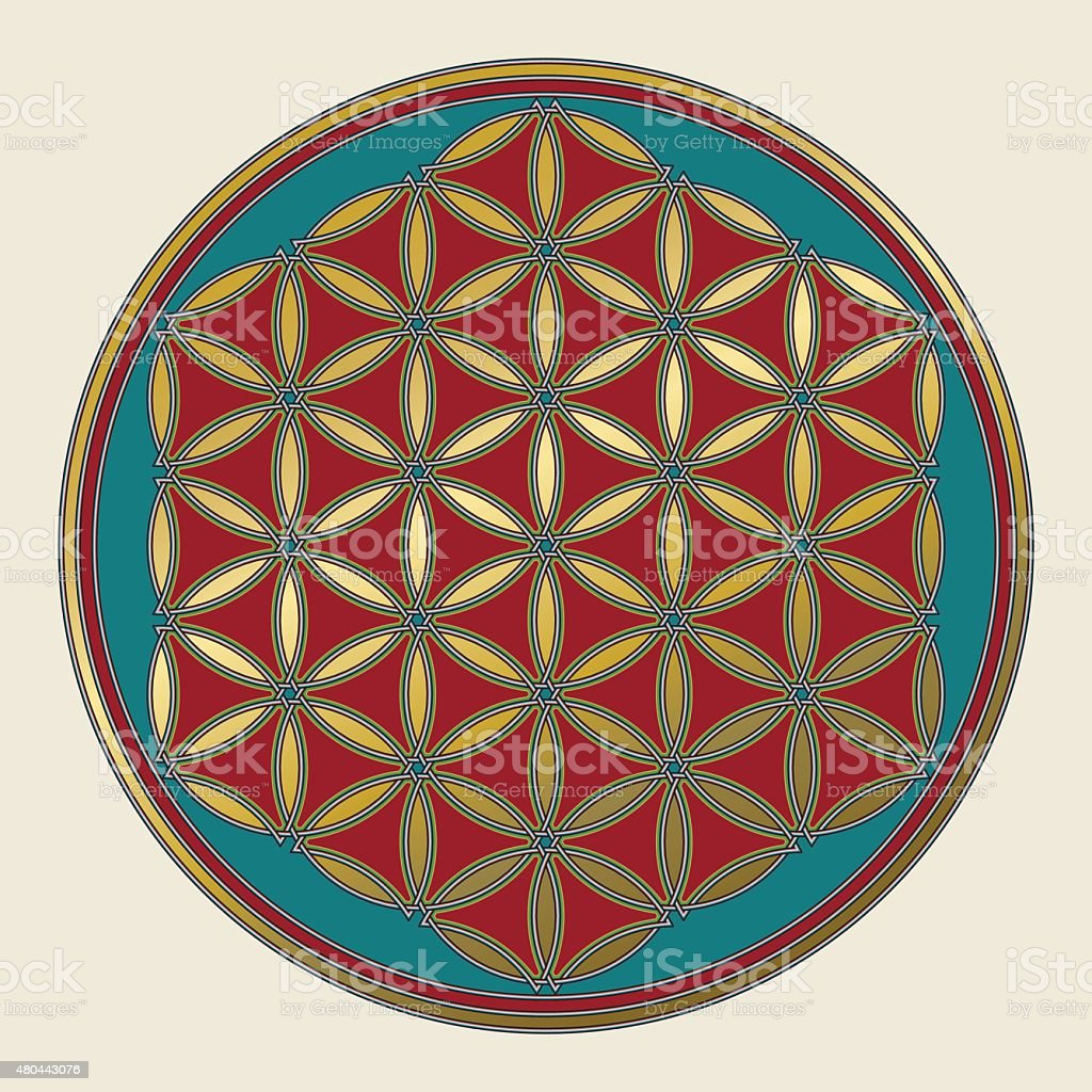 Celtic Flower Of Life In Medieval Colors Stock Vector Art & More ...