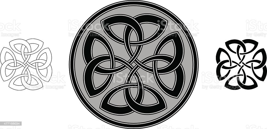 Celtic four trinity clover (Infinity knot variation n° 4) vector art illustration