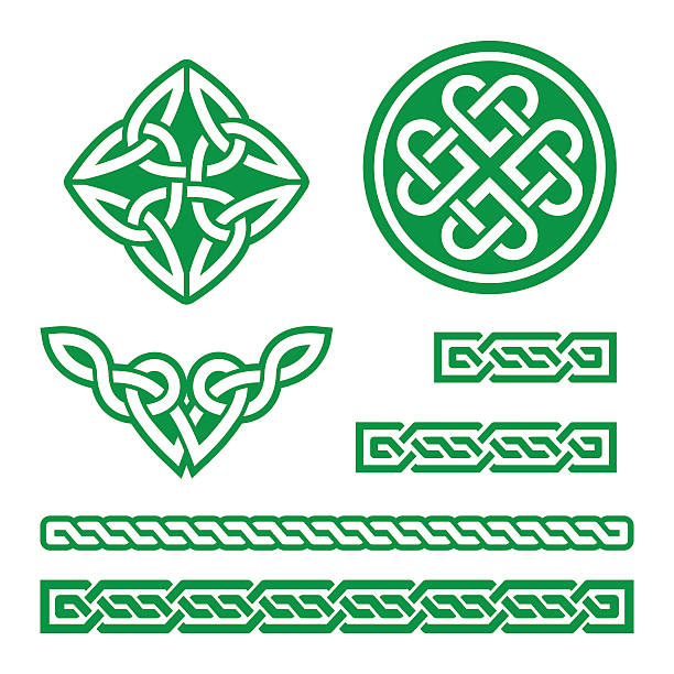 Celtic green knots, braids and patterns - vector  Set of traditional Celtic symbols in green isolated on white - St Patrick's Day  celtic style stock illustrations