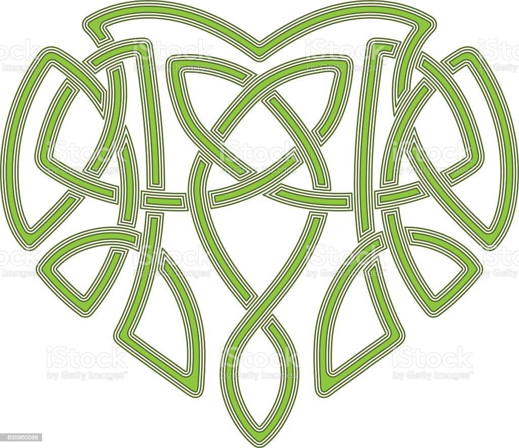 Celtic heart, intertwine knot ethnic symbol vector art illustration