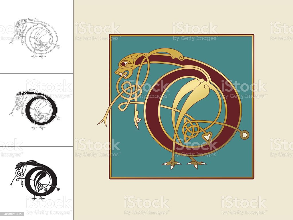 Celtic initial: letter D with animal and endless knots vector art illustration
