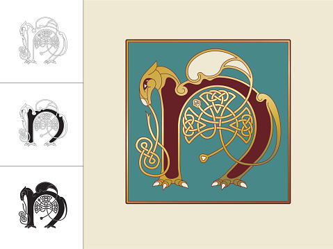 Set with four variations of the letter N in the shape of a horse with wing. Three versions are in black and white and one in color and gold within a square frame. This celtic initials are based on animal heads and shapes combined with celtic knot designs (endless knots). Similar illustrations are known from the various illuminations in medieval, celtic books such as the