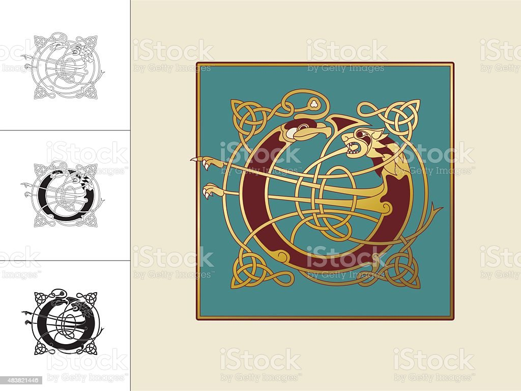 Celtic initial: letter O with animal and endless knots vector art illustration