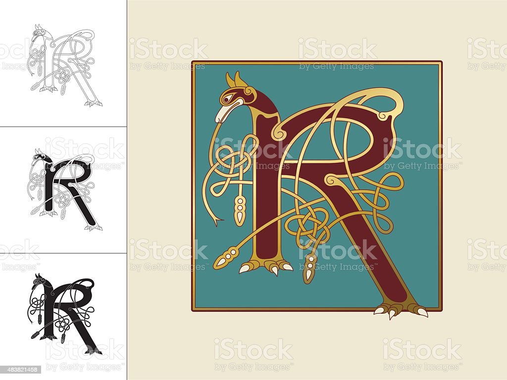 Celtic initial: letter R with animal and endless knots vector art illustration