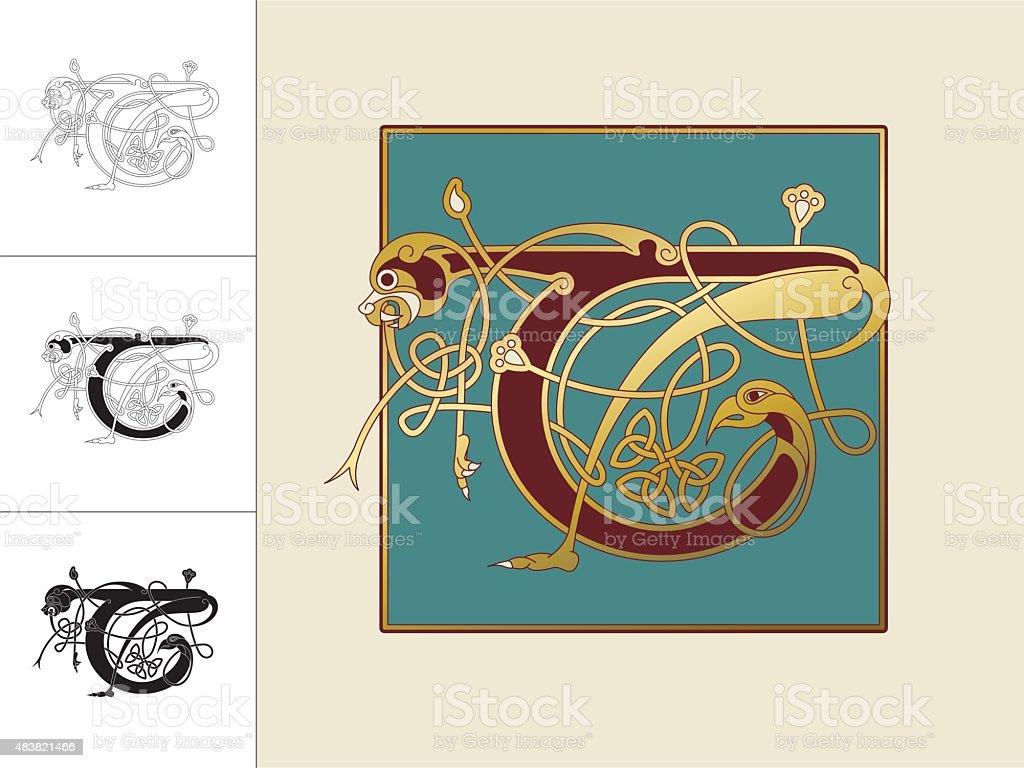 Celtic initial: letter T with animal and endless knots vector art illustration