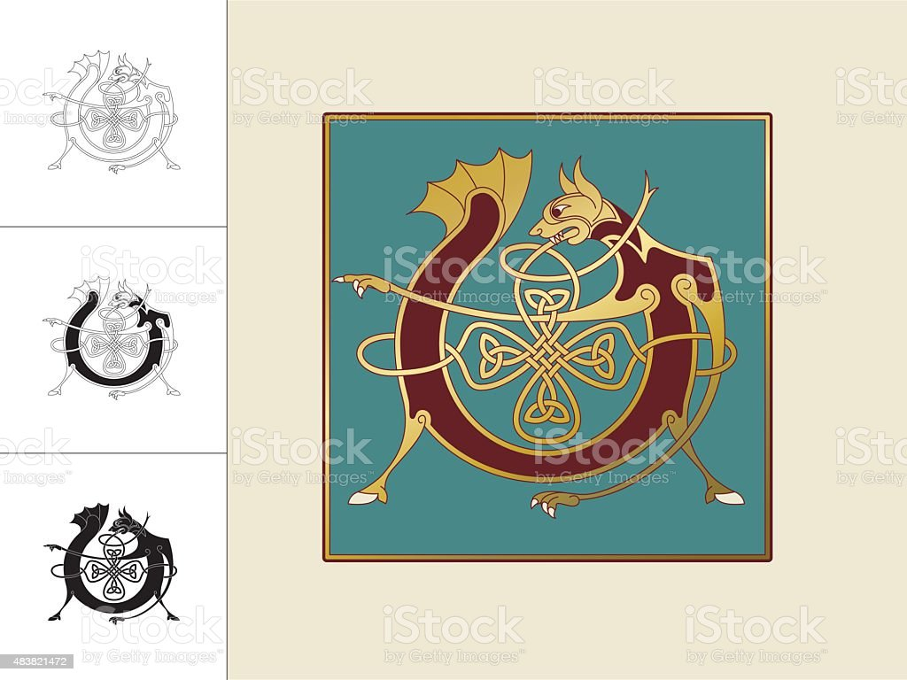 Celtic initial: letter V with animal and endless knots vector art illustration