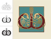 "Set with four variations of the letter W in the shape of a double headed dog. Three versions are in black and white and one in color and gold within a square frame. This celtic initials are based on animal heads and shapes combined with celtic knot designs (endless knots). Similar illustrations are known from the various illuminations in medieval, celtic books such as the ""book of kells"" and the ""Lindisfarne gospels""."