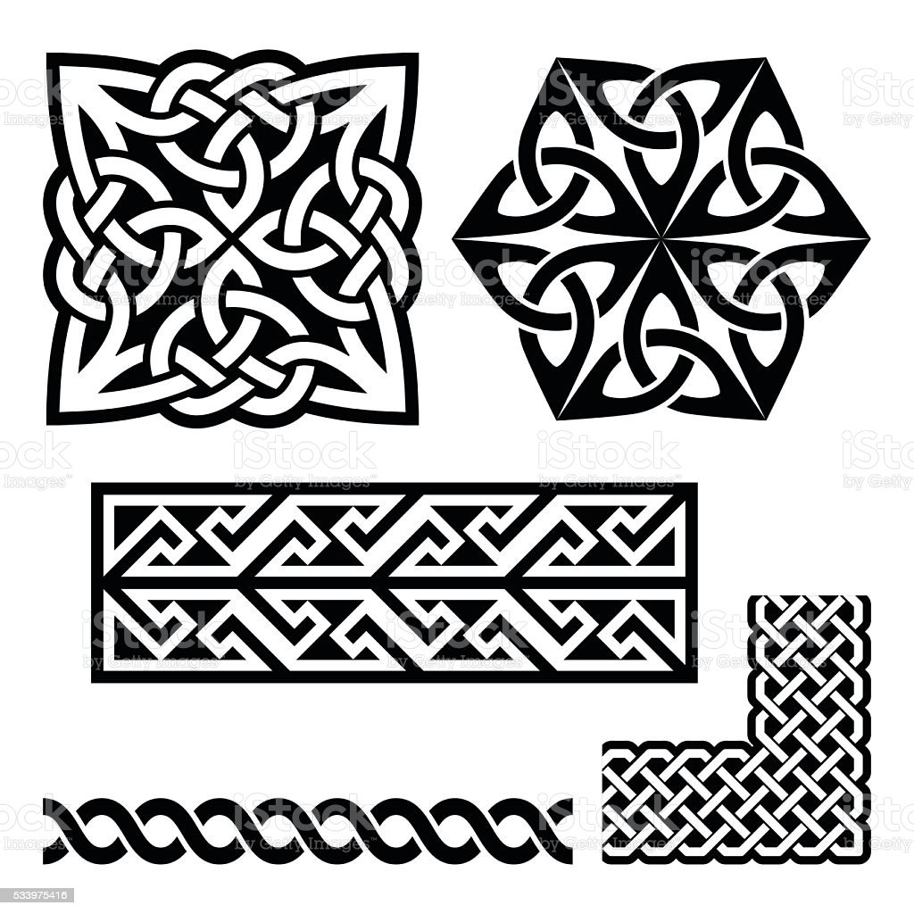 Celtic Irish And Scottish Patterns Knots Braids Key Patterns Stock