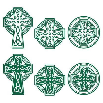 Celtic Irish cross vector retro design set in green - St Patrick's Day celebration in Ireland