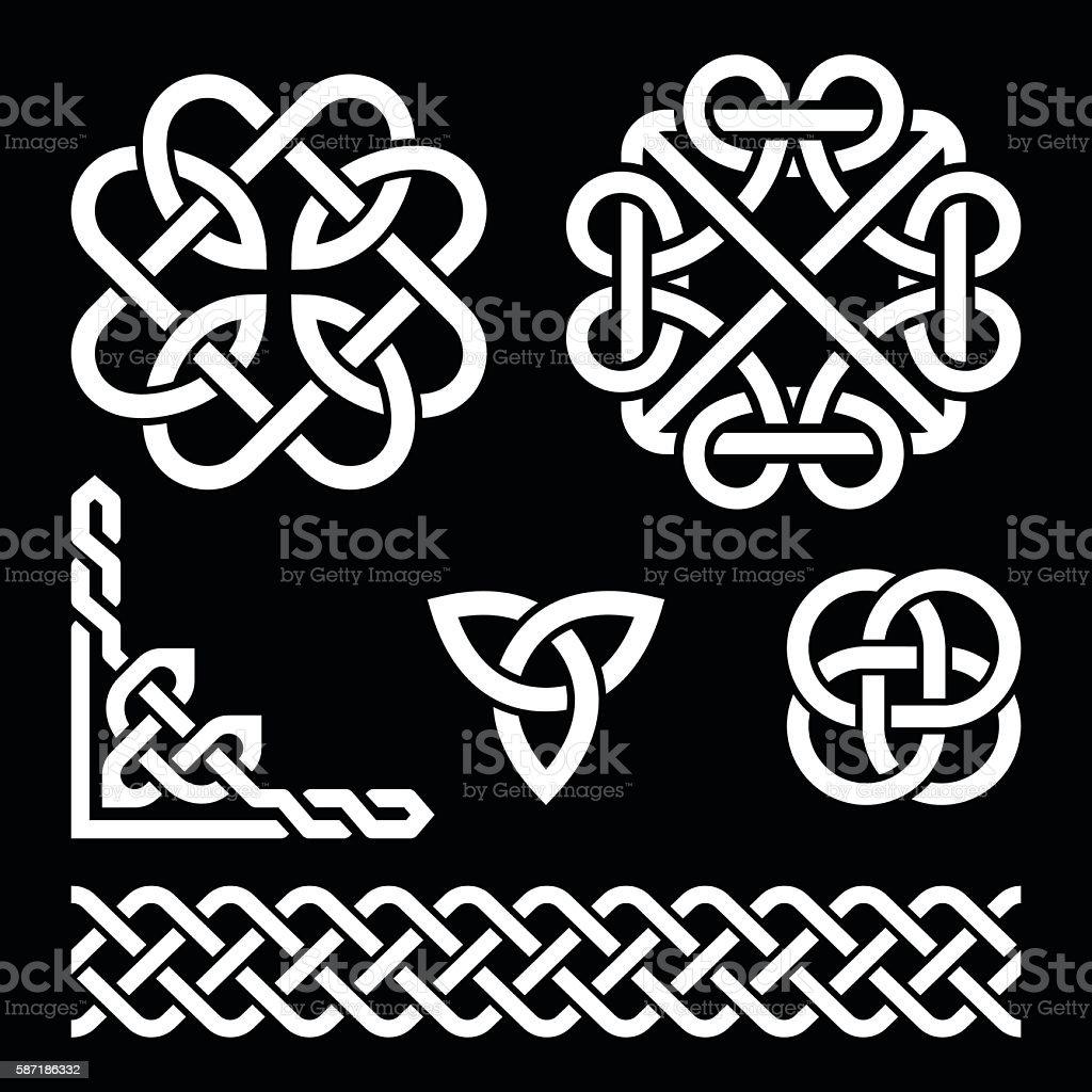 Celtic Irish knots, braids and patterns on black vector art illustration
