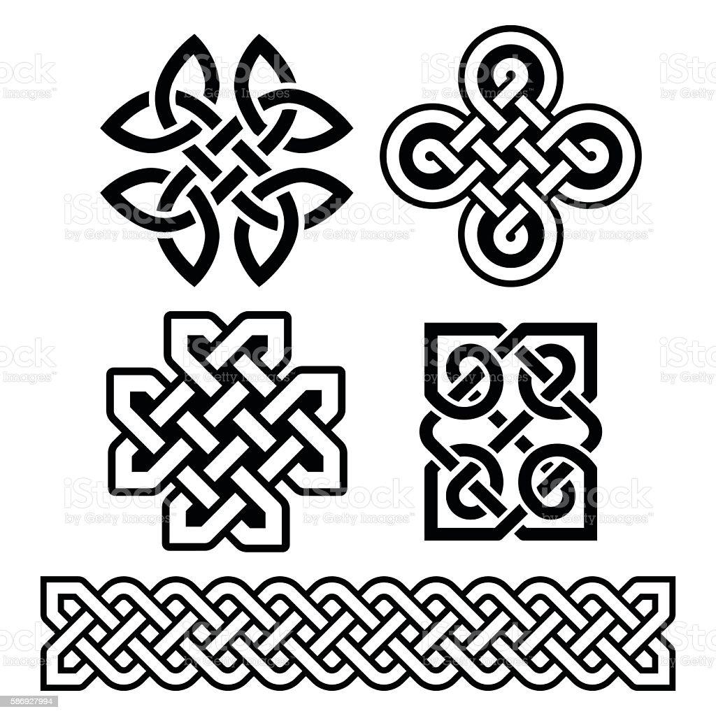 Celtic Irish Patterns And Braids Vector Stock Illustration ...