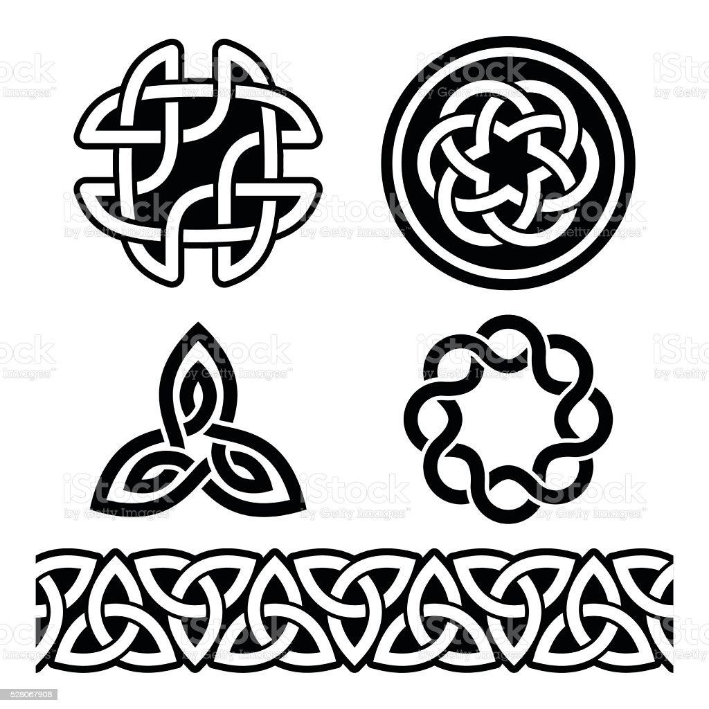 Celtic Irish patterns and knots - vector, St Patrick's Day vector art illustration
