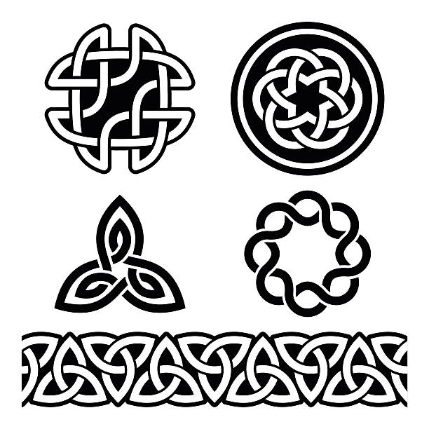 Celtic Irish patterns and knots - vector, St Patrick's Day Set of traditional Celtic symbols, knots, braids isolated on white celtic knot stock illustrations