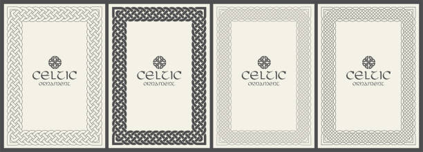 Celtic knot braided frame border ornament. A4 size Celtic knot braided frame border ornament. A4 size. Vector illustration. celtic knot stock illustrations