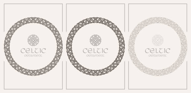 Celtic knot braided frame border ornament. A4 size Celtic knot braided frame border ornament. A4 size. Vector illustrations set. celtic knot stock illustrations
