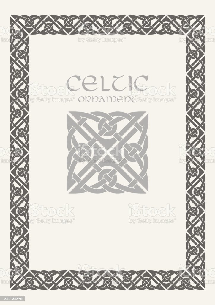 Celtic Knot Braided Frame Border Ornament A4 Size Stock Vector Art ...